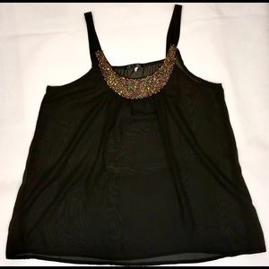 ☀️☀️Must Have Black Sheer tank with Jewel Neckline